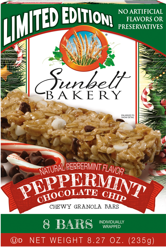 Peppermint Chocolate Chip Chewy Granola Bars