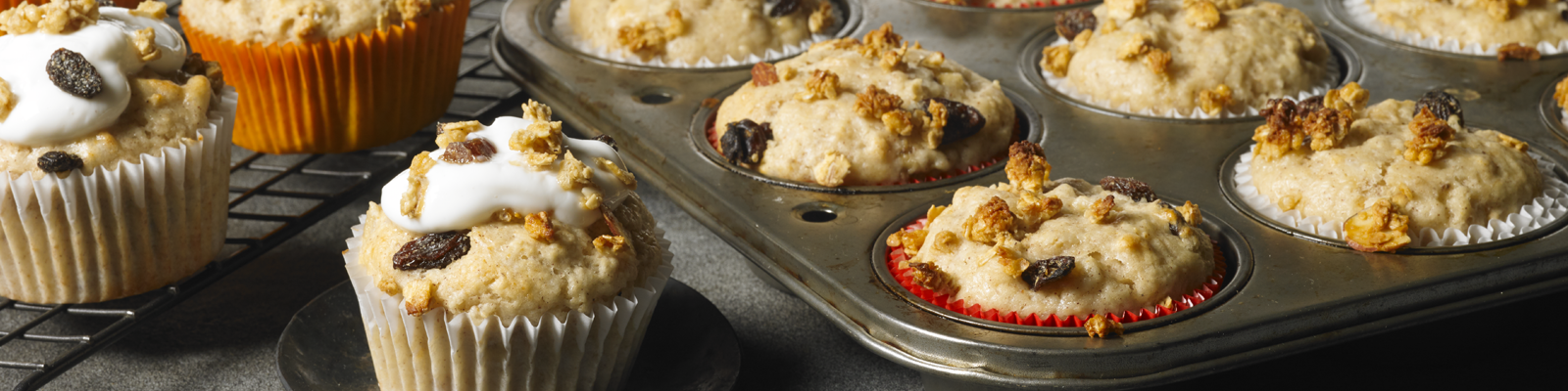 Banana Yogurt Muffins with Granola Topping